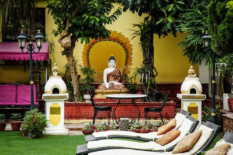Buddha in the gardens of Kathmandu Guest House
