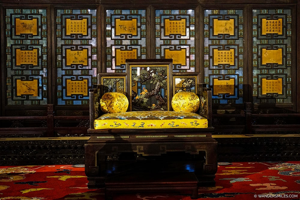 Opulent chair in the Palace of Tranquil Longevity in the Forbidden City in Beijing