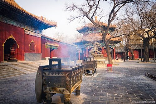 Burning incense at Lama Temple in Beijing