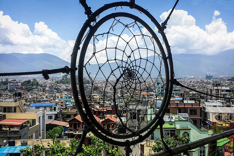 View from the rooftop of Shantipur Kathmandu Hotel in Thamel