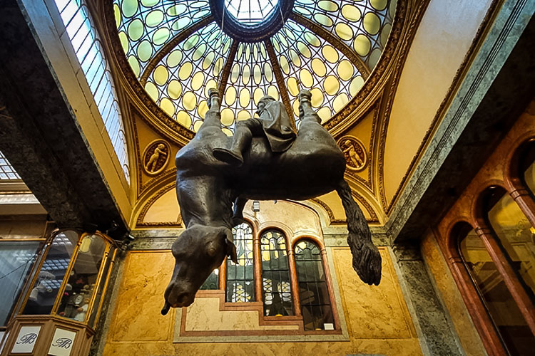 Statue of King Wenceslas Riding an Upside-Down Dead Horse by David Černý