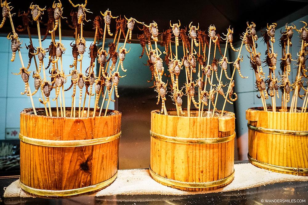 Skewered scorpions at Wangfujing Night Market in Beijing