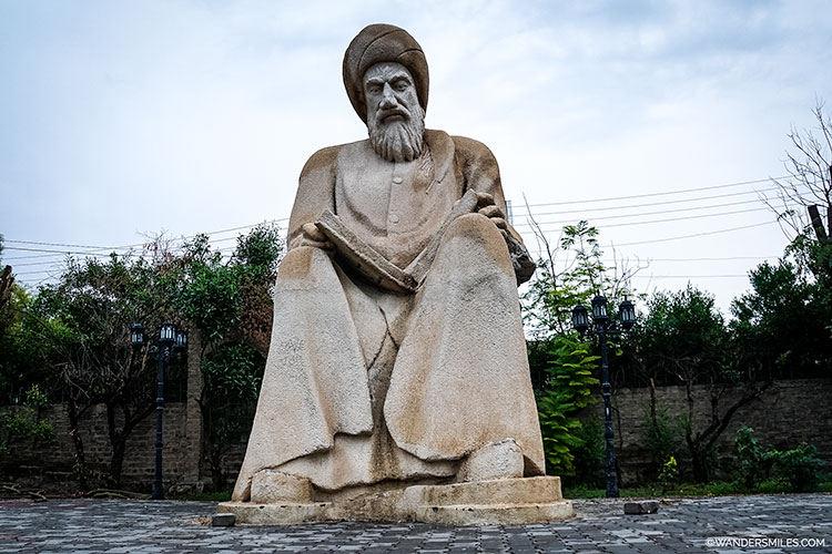 Statue in Minaret Park of Mubarak Bin Ahmad Sharaf-Aldin Abu al-Barakat Ibn al-Mustawfi, a famous Kurdish historian of Erbil.