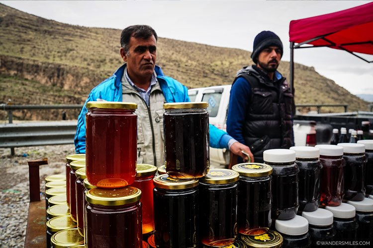 Honey sellers by the roadside in the Rawanduz, Kurdistan