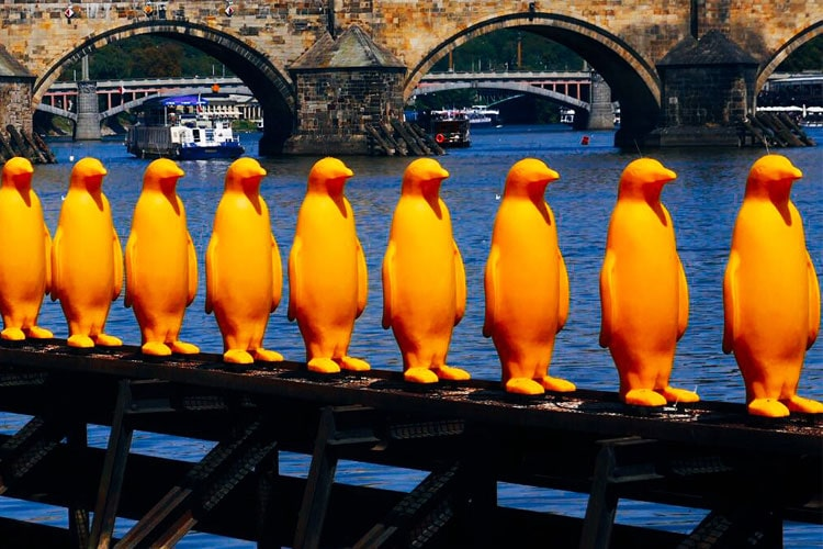 34 Yellow Penguins in Prague by the Cracking Art Group