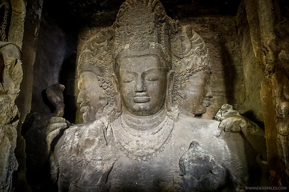 Trimurti Sadasiva Statue at Elephanta Caves