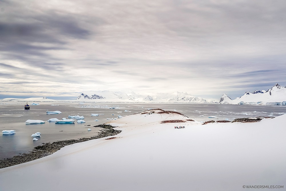 Snowy landscape of Cuverville Island, Antarctic Peninsula
