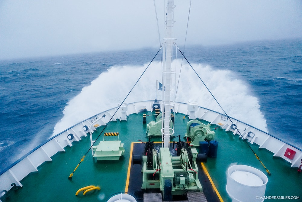 Drake Shake at the front of the ship crossing the Drake Passage