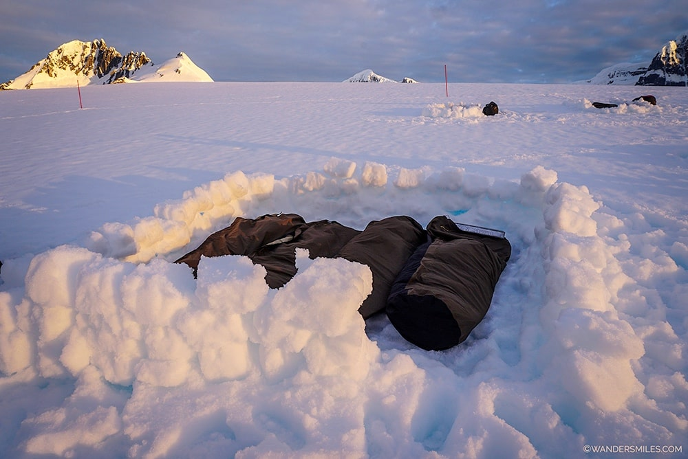 Camping experience with bivvy bags and sunsets at Damoy Point Antarctica - Wanders Miles
