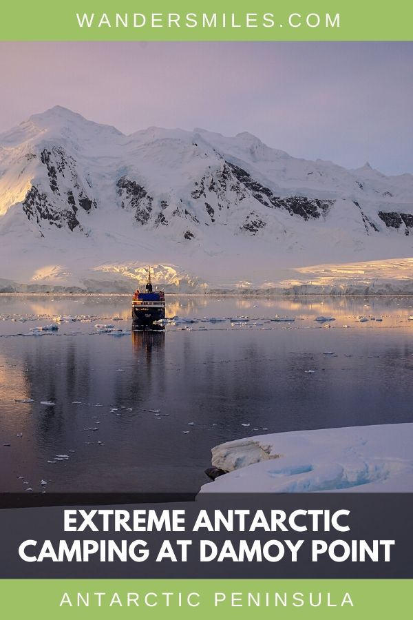 Sunset views of the expedition ship and glaciers whilst we camped at Damoy Point in Antarctica