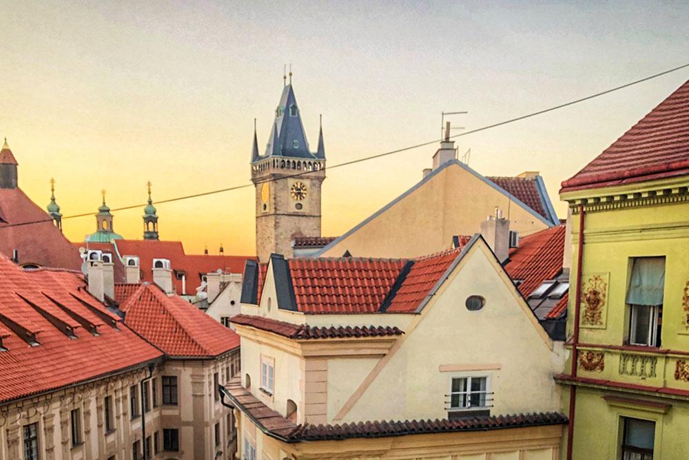 Rooftop views from Hostel HOMEr in Prague