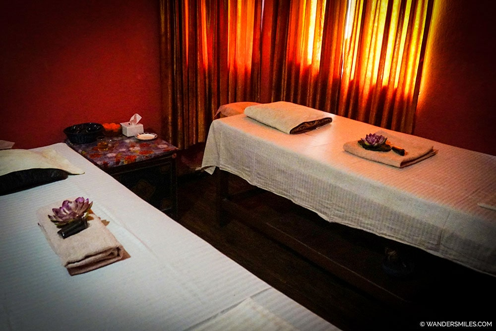 Massage room in Kathmandu Spa. Post mountain massages in Thamel.
