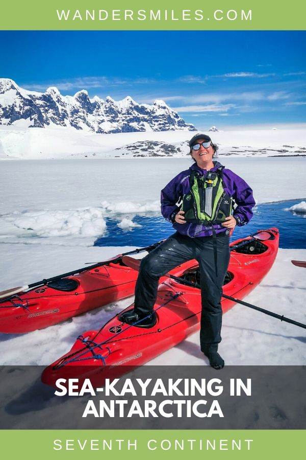 Unique experience of standing on an ice shelf whilst sea-kayaking in Antarctica. Guide to Antarctic adventures