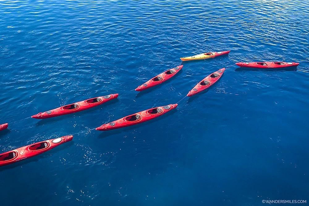 Kayaks in the ocean in Antarctica