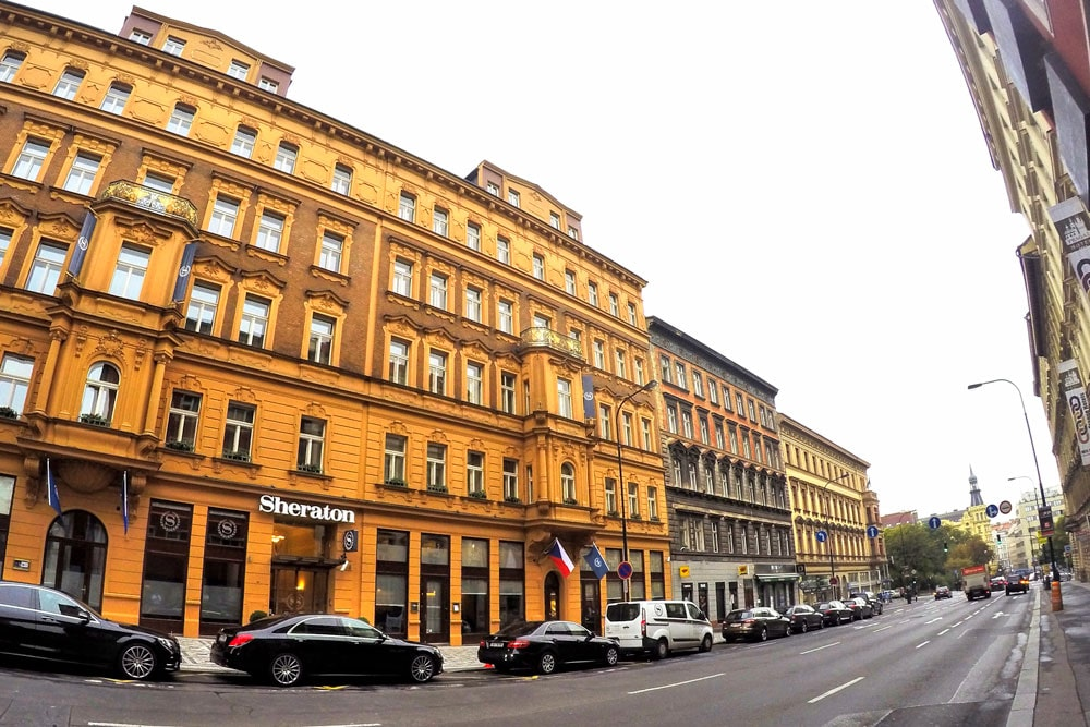 Outside of the Sheraton Prague, now the Radisson Blu Hotel