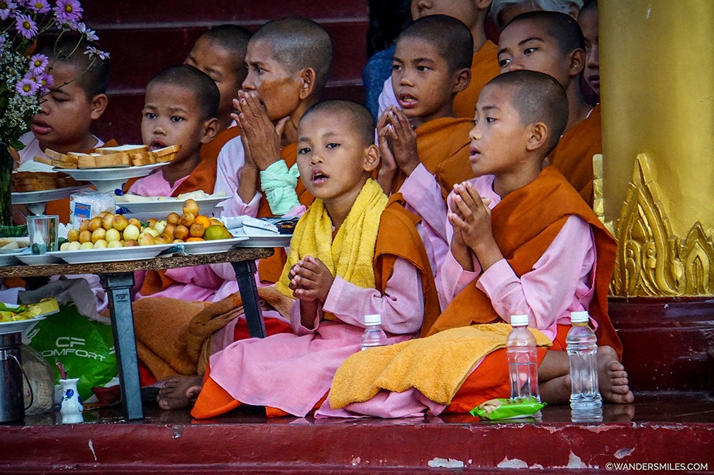 Novice female monks at Swedagon Pagoda in Yangon