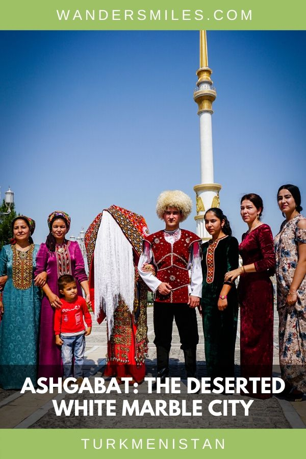 See the wedding party at Independence Monument in Ashgabat's white marble city in Turkmenistan