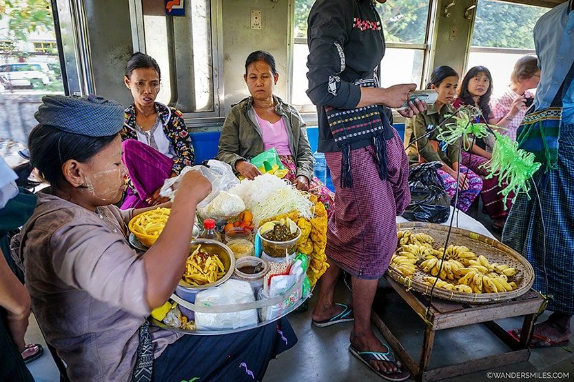 Food Seller on the Circular Train in Yangon