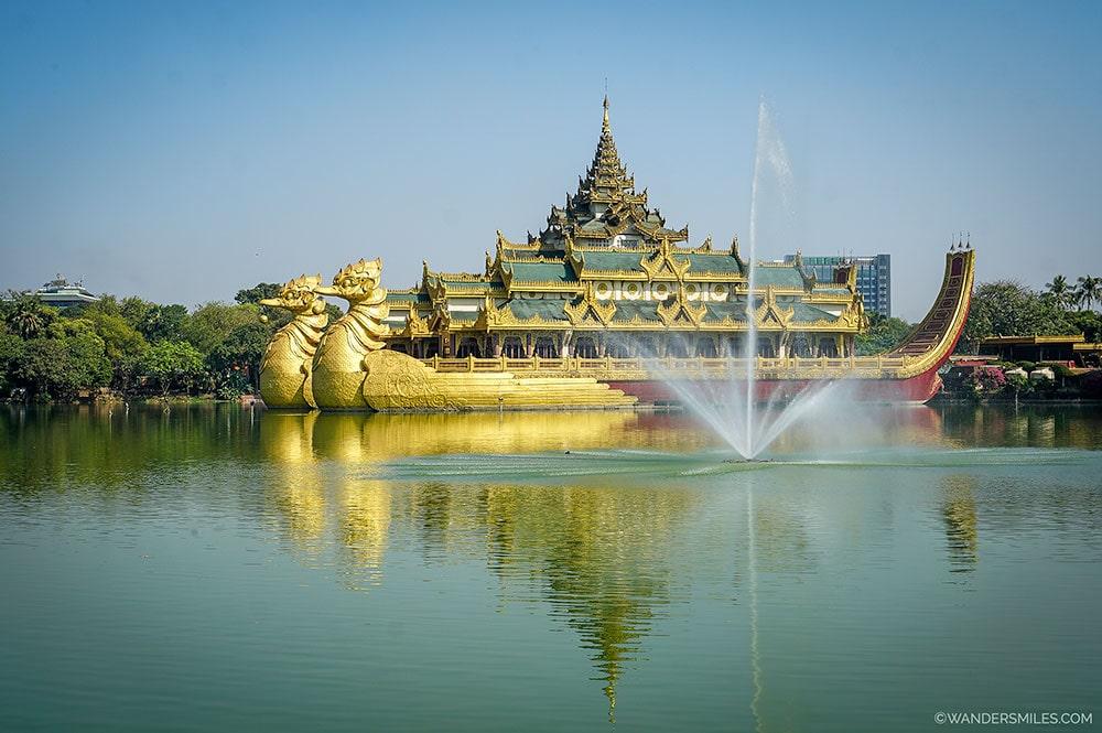 Karaweik Palace in the Kandawgyi Lake in Yangon