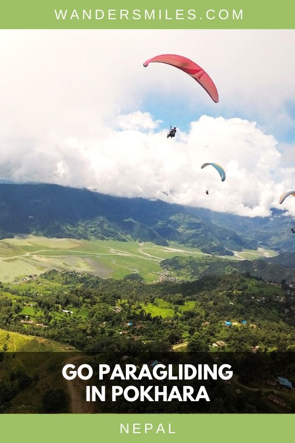 Views of adventurers paragliding in Pokhara, Nepal