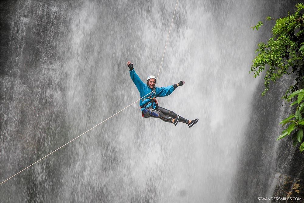 Rappelling down 45m waterfall in Ghalel Village, Nepal - Wanders Miles