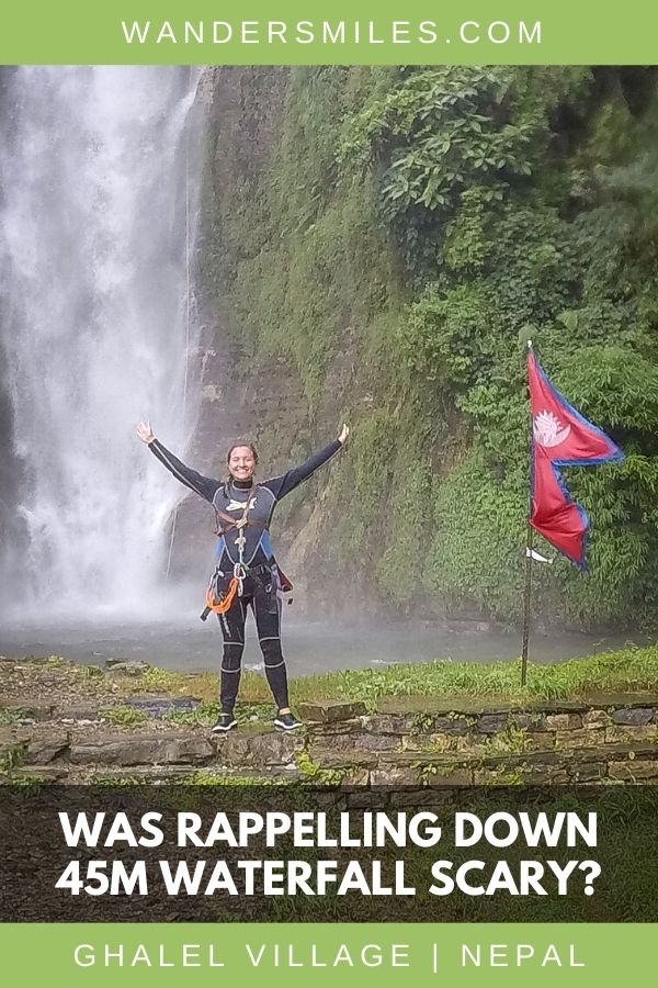 How scary is rappelling down a 45m waterfall in Ghalel Village, Pokhara in Nepal?