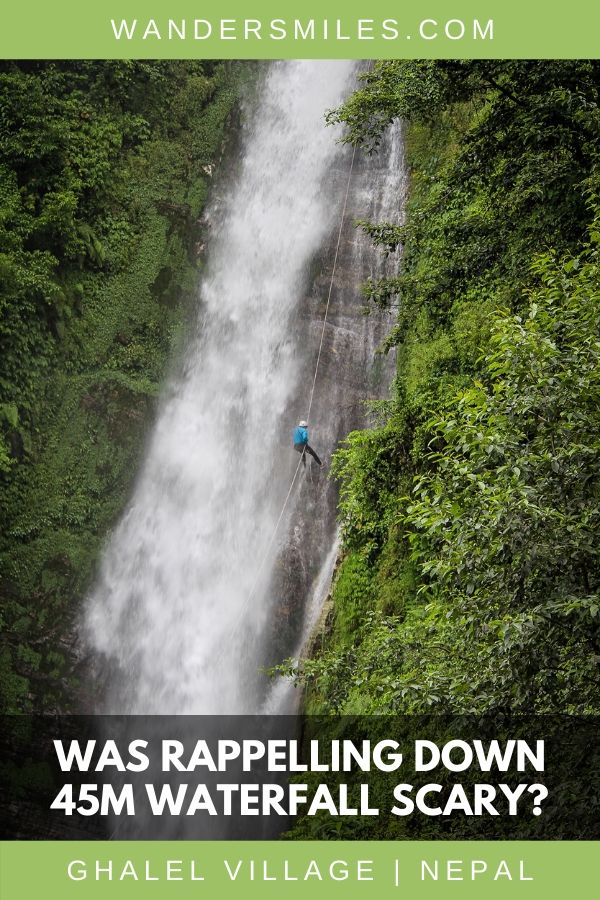 Rappelling down a 45m waterfall in Pokhara