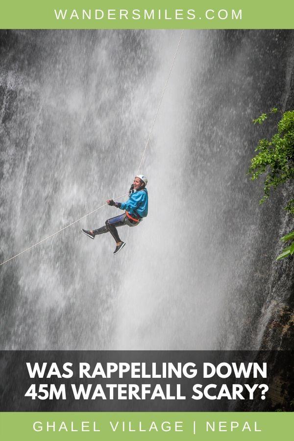 Scary adrenaline rush rappelling down a 45m waterfall in Ghalel Village, Pokhara in Nepal