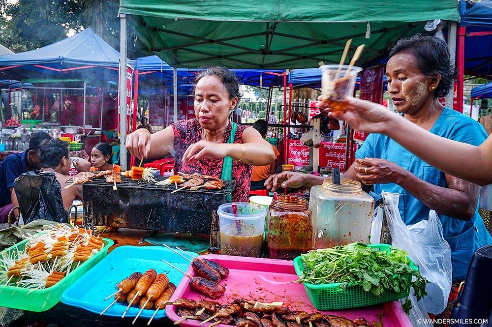 Sule Food Market in Downtown Yangon