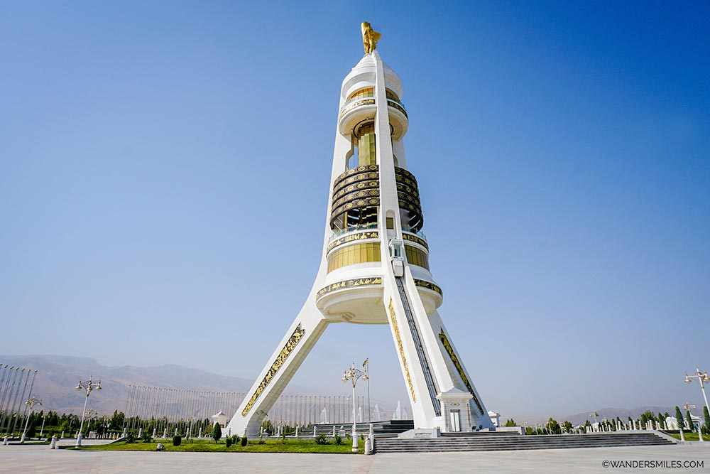 Monument of Neutrality known locally as 'The Tripod' in Ashgabat, Turkmenistan. © Wanders Miles