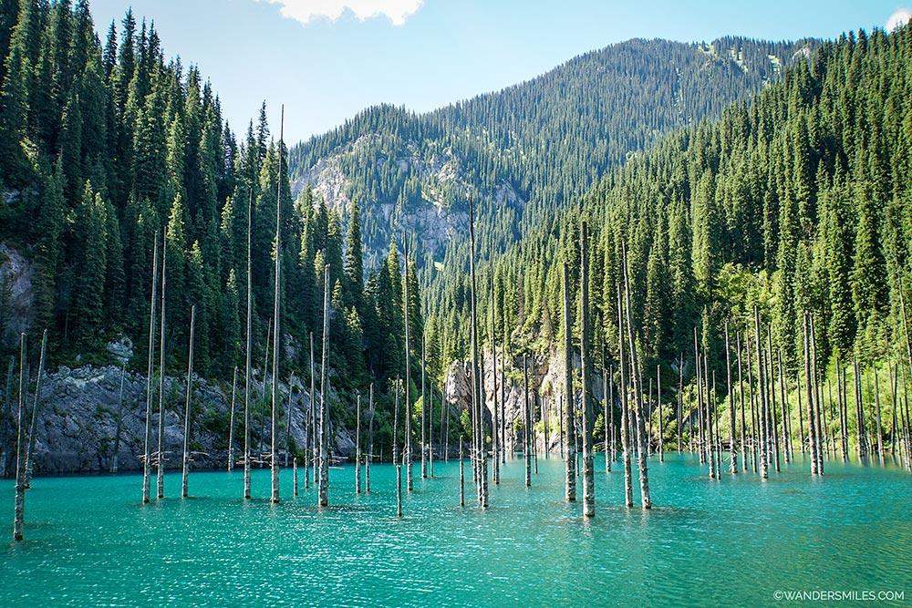 Spectacular sunken forest of Lake Kaindy in the Almaty region of Kazakhstan