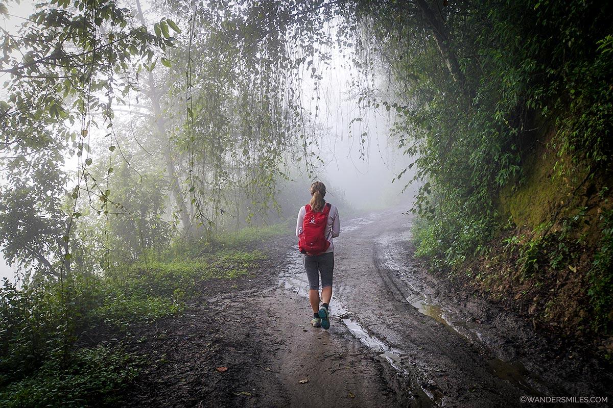 Vanessa from Wanders Miles starting trekking from Nagarkot in the monsoon mist