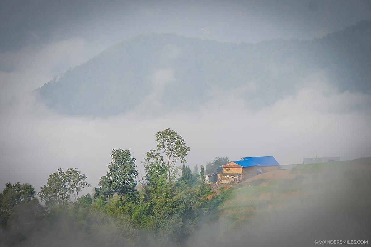Misty monsoon view of Nagarkot, Kathmandu Valley in Nepal