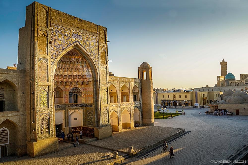 Sunset by the Abdulaziz Khan Madrasah in Bukhara
