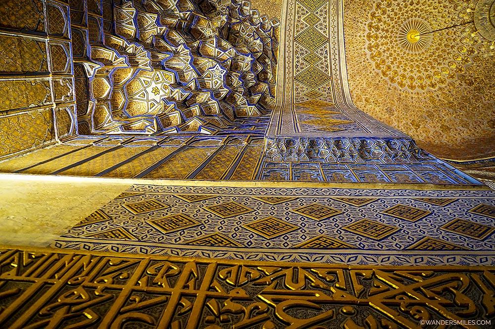 Golden interior of Gur-e-Amir Mausoleum in Samarkand