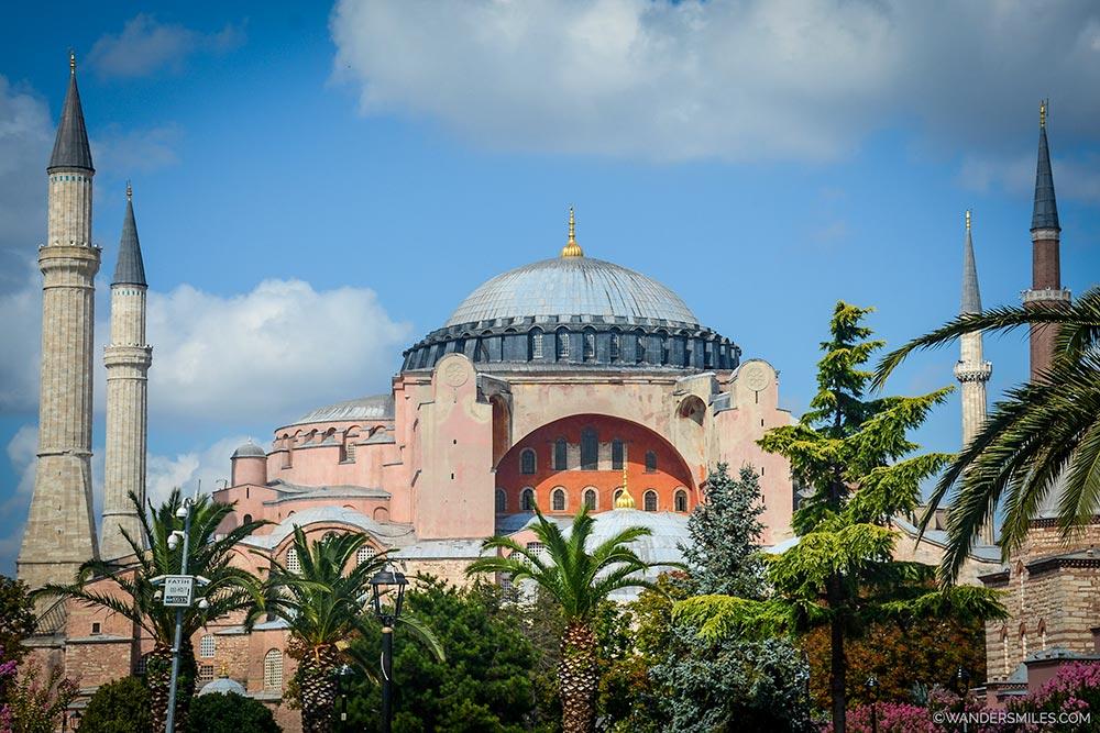 Exterior of the beautiful Hagia Sophia in Istanbul