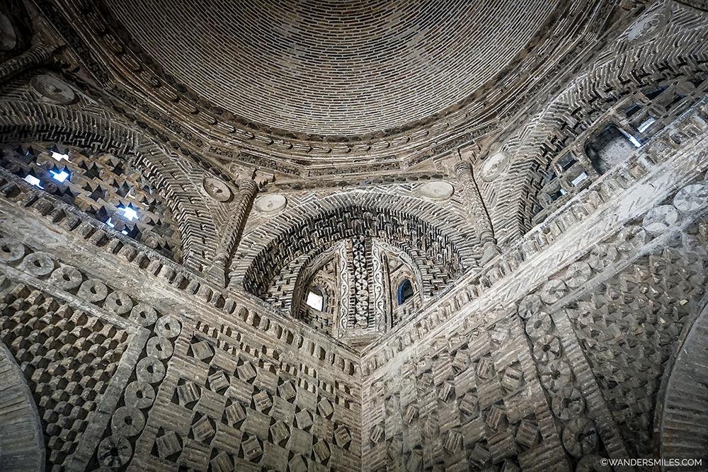 Beautiful stonework inside the Ismail Samani mausoleum in Bukhara