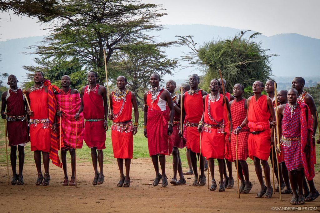 Maasai tribal men jumping in Kenya