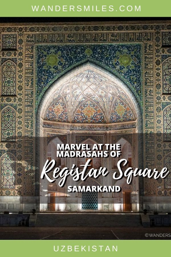 Guide to seeing the Madrasahs of Registan Square in Samarkand including Tilya-Kori at night and in the day