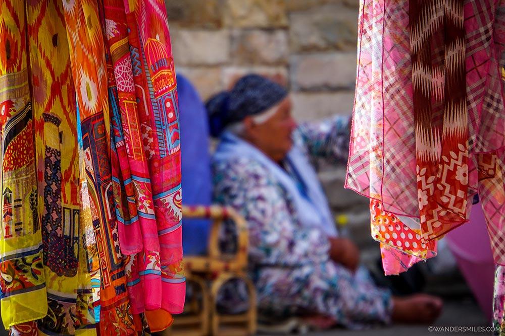 Colourful scarves at the Siyob Bazaar in Samarkand, Uzbekistan