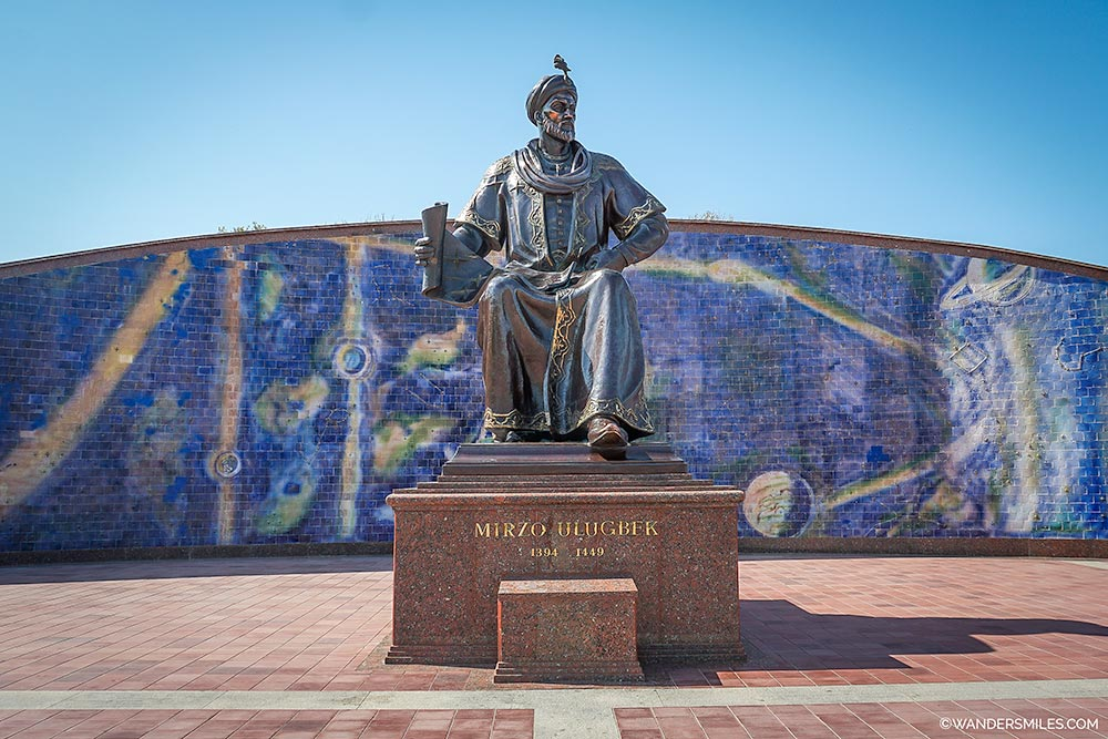 Explore Samarkand. See the Statue of Mirzo Ulug Bek at Ulugh Beg Observatory