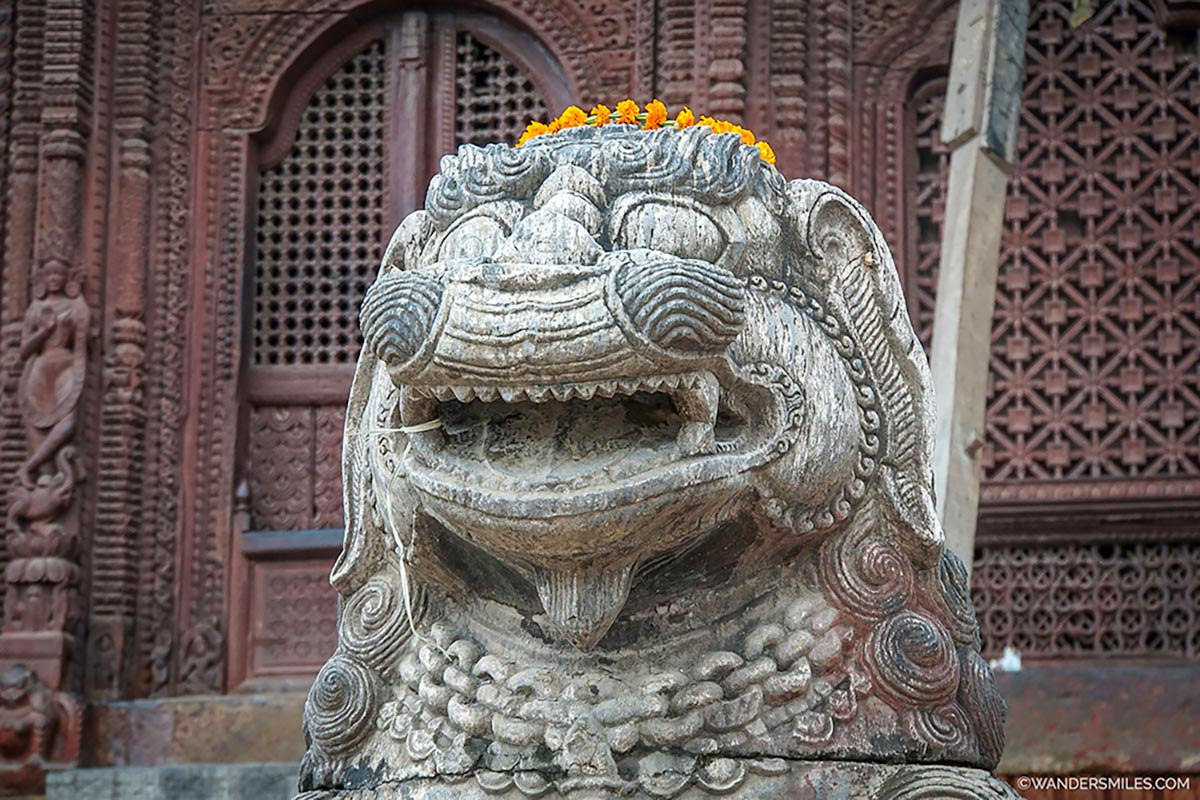 Stone Lion in Durbar Square on a Kathmandu Walking Tour with Welcome To My Yard