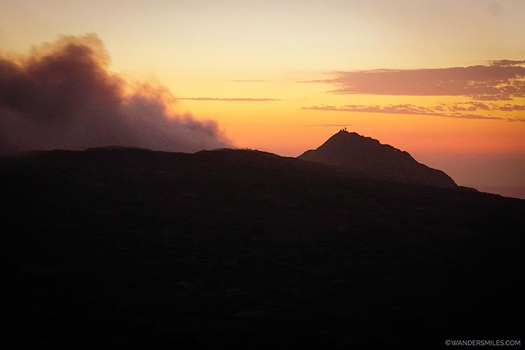Sunrise behind the smoking Erta Ale volcano in Ethiopia