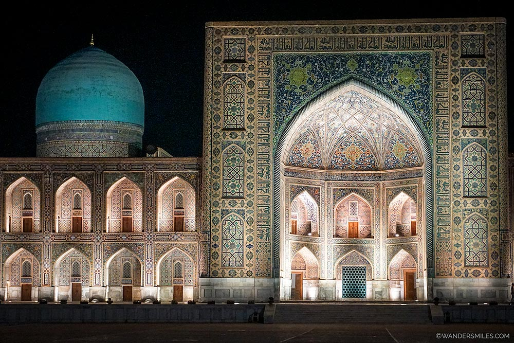 Registan Square at night in Samarkand, Uzbekistan