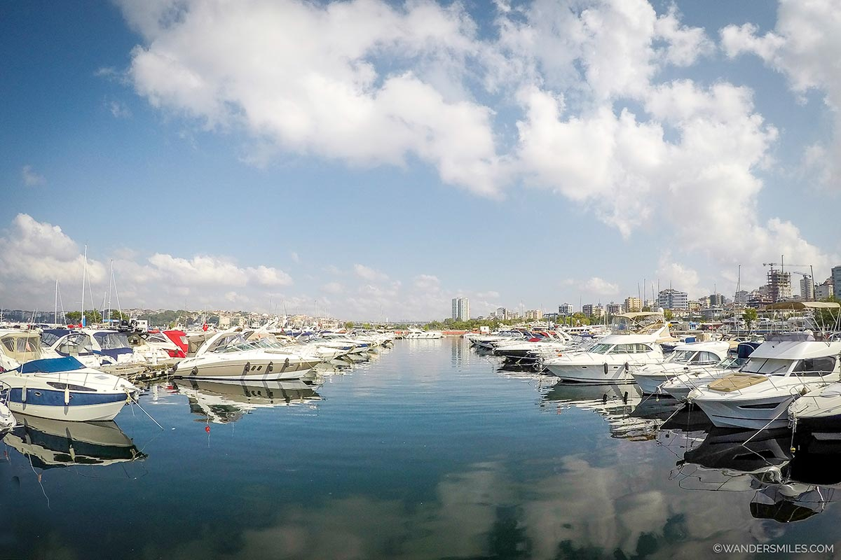 Yachts at Kalamis Marina in Istanbul before sailing on the Bosphorus