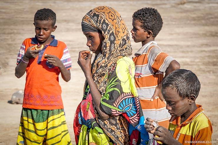 Afari kids at the Lake Abbe, Djibouti