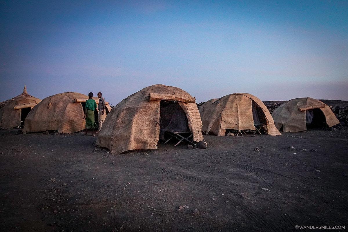 Traditional Afari huts at the camp by Lake Abbe, Djibouti