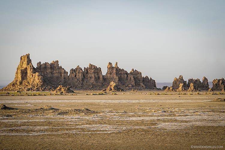 Limestone chimneys at Lake Abbe, Djibouti