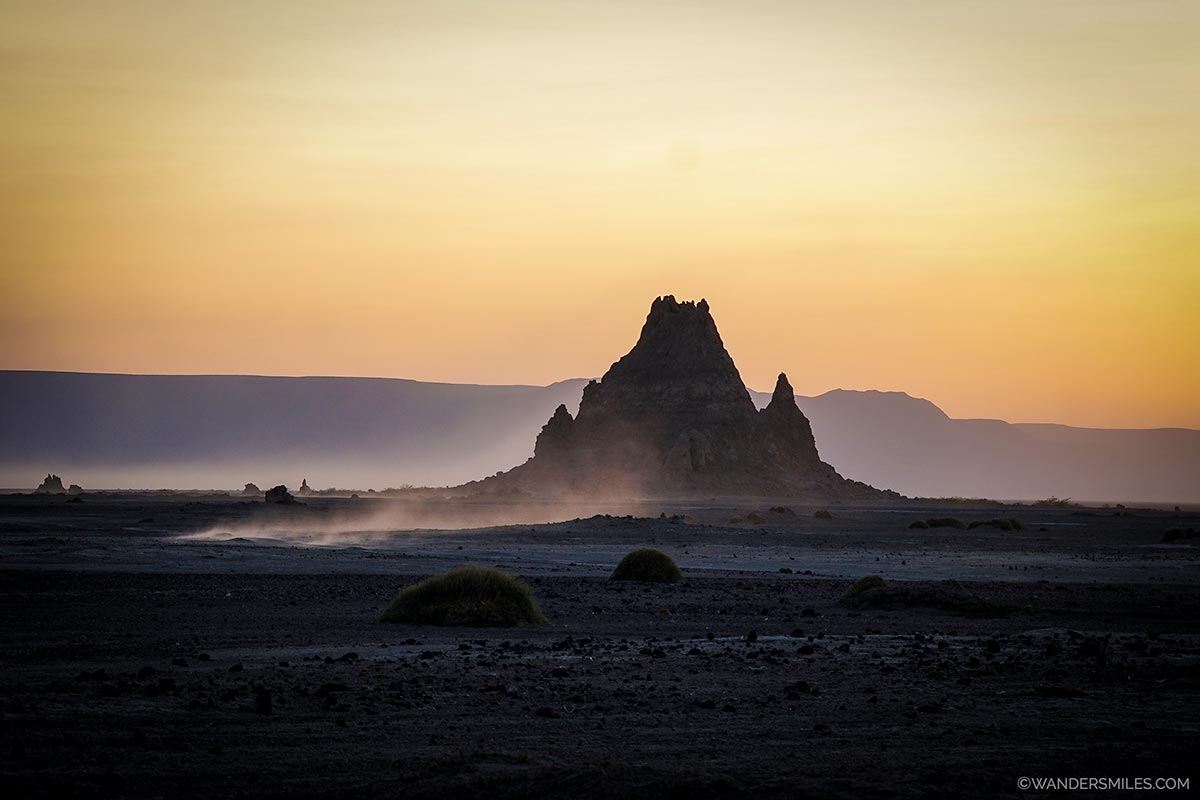 Sunset over the chimneys of Lake Abbe in Djibouti