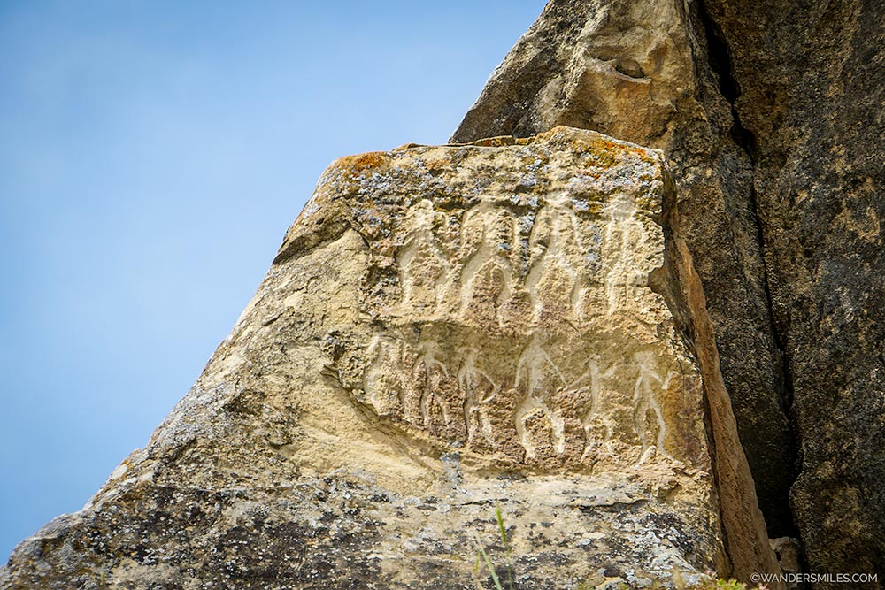 Gobustan Rock Art Cultural Landscape showing petroglyphs located in Azerbaijan